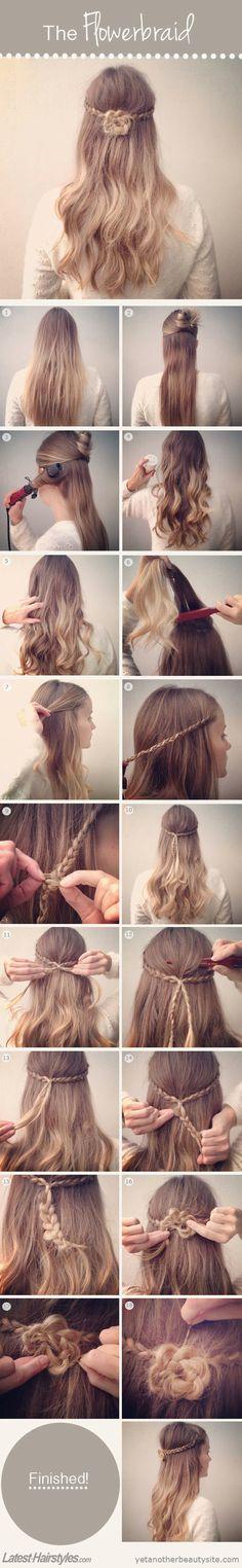 "Lindo peinado en forma de flor <a href=""http://www.latest-hairstyles.com/tutorials/flower-braid.html"" rel=""nofollow"" target=""_blank"">www.latest-hairst...</a>"