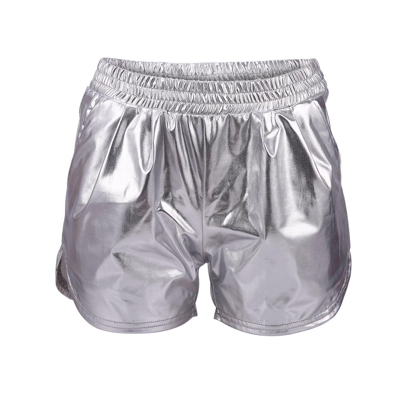 84122b371981e HDE Women's Hot Shorts Loose Shiny Metallic Yoga Pants (Silver, Medium)# Shorts, #Loose, #Hot