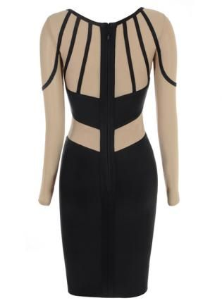 Black Day Dress - Bqueen  Black And Nude Mesh