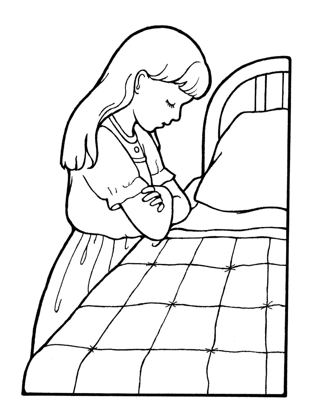 A Picture Of A Girl Praying By Her Bedside Before Bed Lds