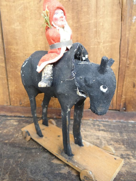 Antique German Santa on a Horse Pull Toy for by exploremag on Etsy, $129.00
