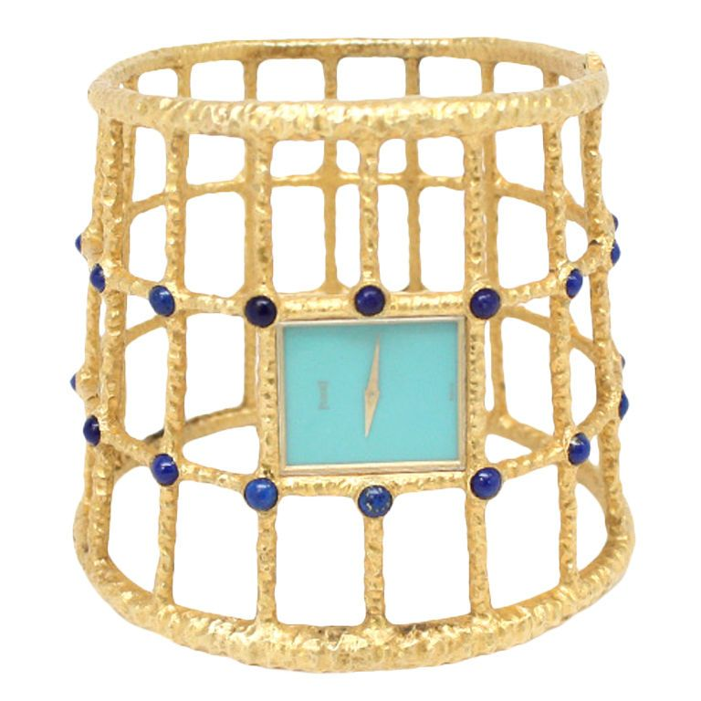 PIAGET 'Escalve' Lapis, Turquoise and Gold Watch