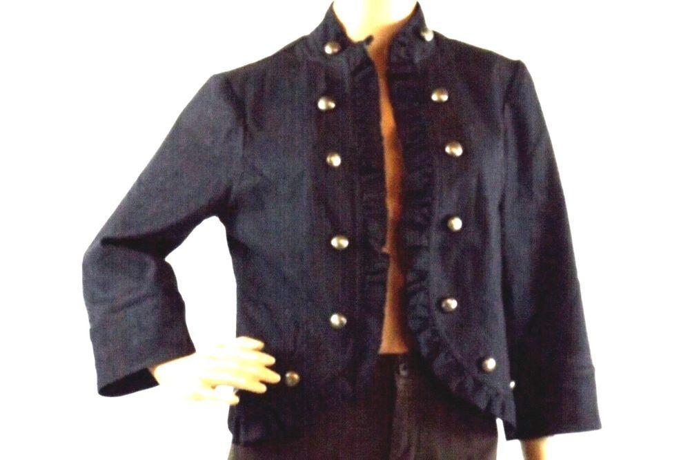 655c85ccf39e8 Cato Women s Sz S Dark Blue Denim Jean Jacket Ruffled Open Front  Cato   JeanJacket