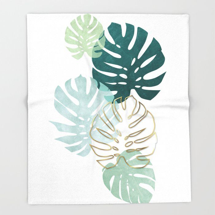 Tropical Minimal / Green, Turquoise And Gold Monst