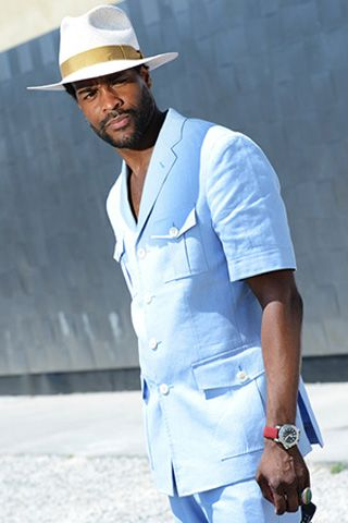 1c0e49a31bab 6 28 13  Baby-blue combo complemented with a panama hat