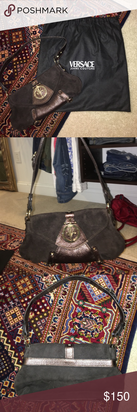 Versace Jeans Couture bag Authentic brown Versace bag that comes with dust  bag. Beautiful lime green inside w Versace stitch Versace Bags Mini Bags 13666ea914