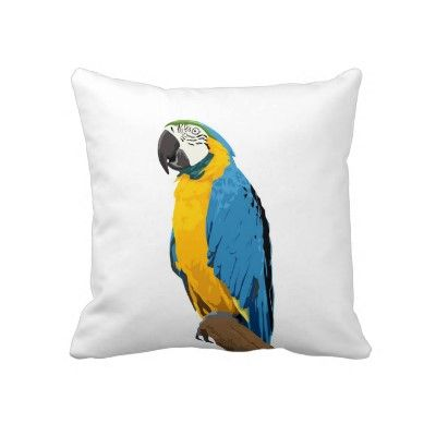 Yellow and Blue Macaw Pillow by Angel Hearts Crafts