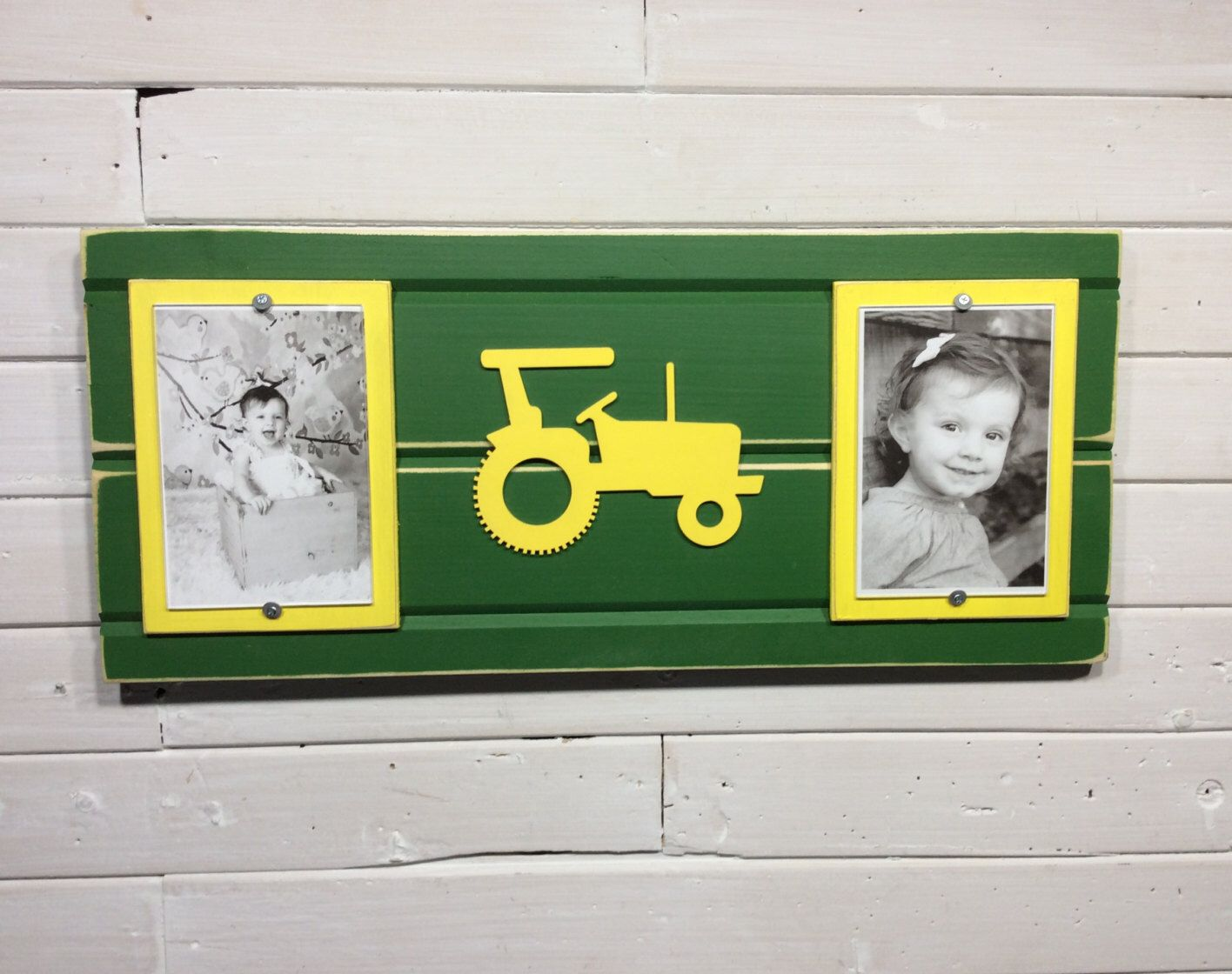 Green and yellow picture frame holds 2 4x 6 photo john deere green and yellow picture frame holds photo john deere colors with tractor jeuxipadfo Images