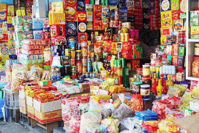 Colourful shops in Hanoi Vietnam