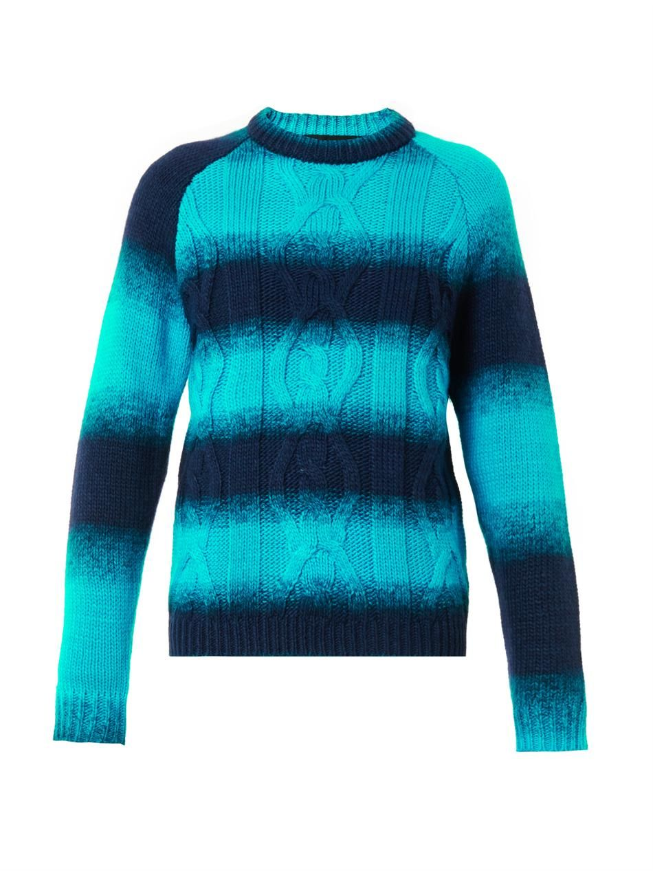 House Of Holland Ombre-stripe cable-knit sweater