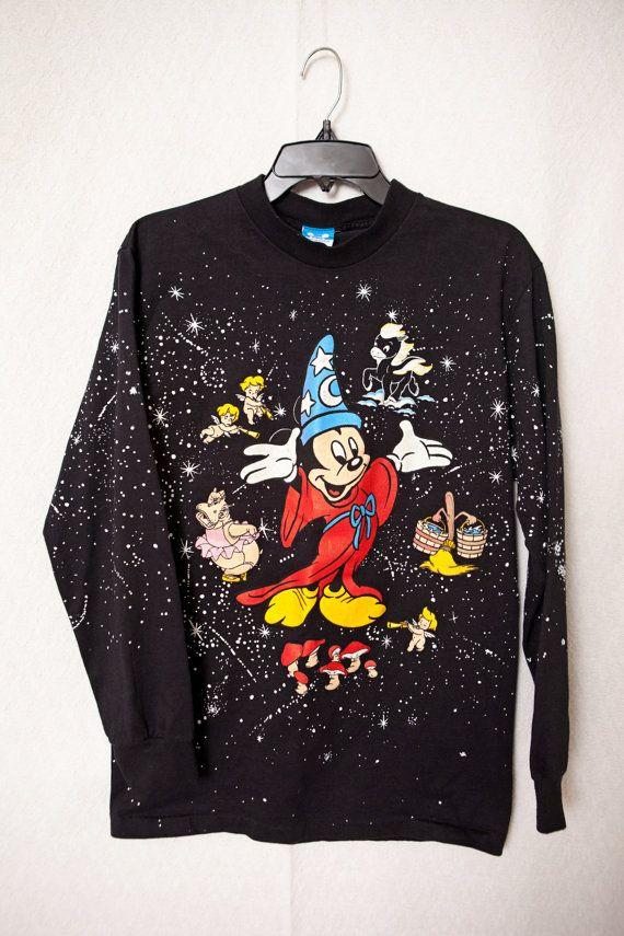 1990 39 S Walt Disney Fantasia 50th Anniversary Long Sleeve Medium Ladies Medium Fantasia Mickey Long Sleeve Shirt 80s Fantasia Disney Walt Disney Fantasia