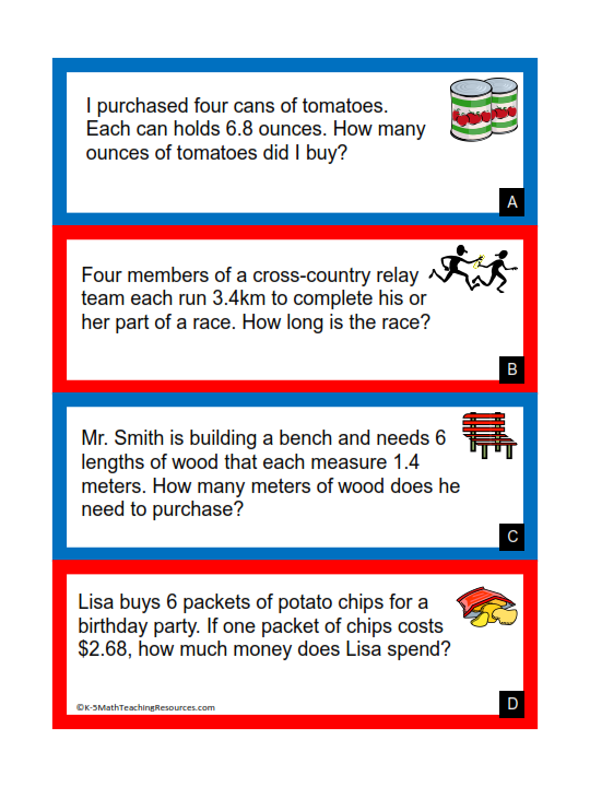 5th Grade Number Decimal Word Problems Math Words Math Word Problems