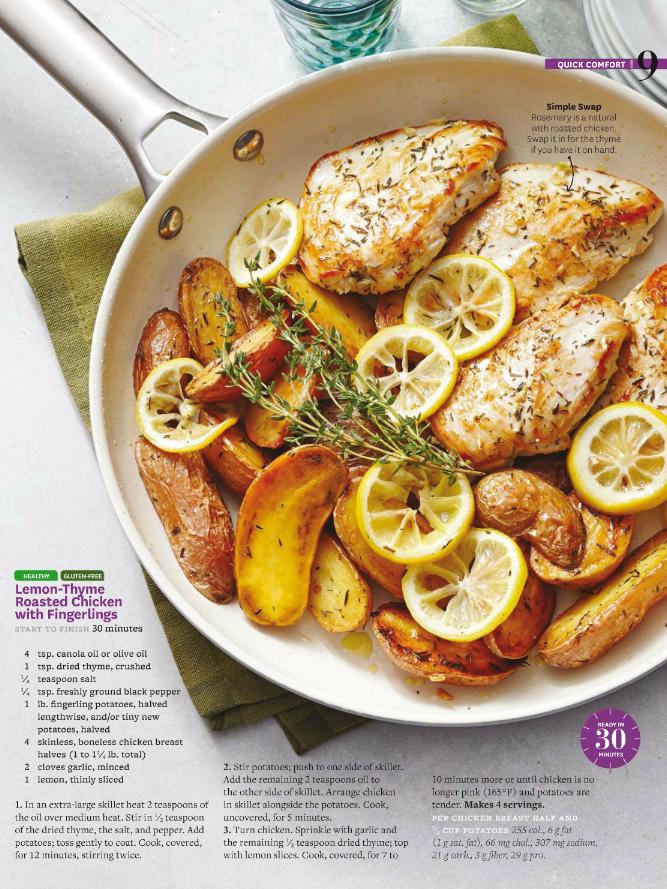 lemon thyme roasted chicken with fingerlings