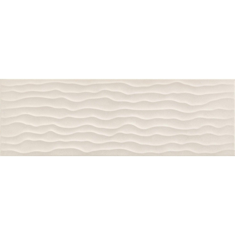 Décor mur béton blanc cassé satiné l.20 x L.20 cm, Time (avec