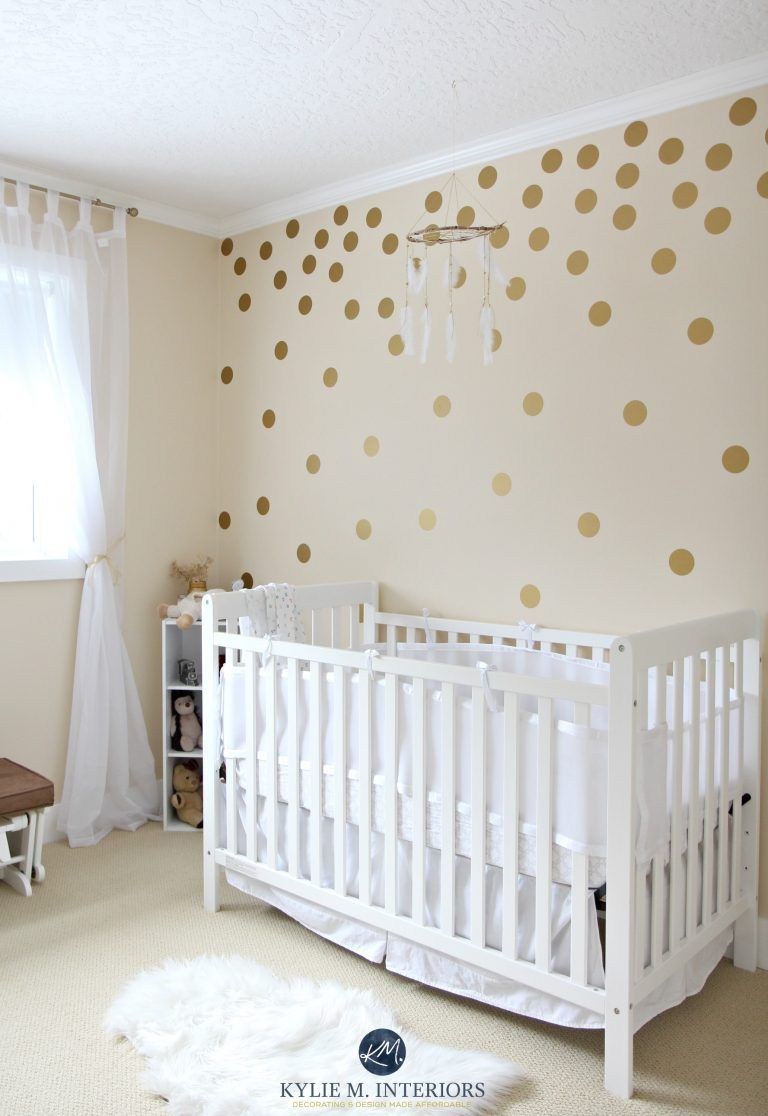 Benjamin Moore Gentle Cream In A Gender Neutral Baby Nursery With Gold Polka Dots And White Crib Kylie M Interiors