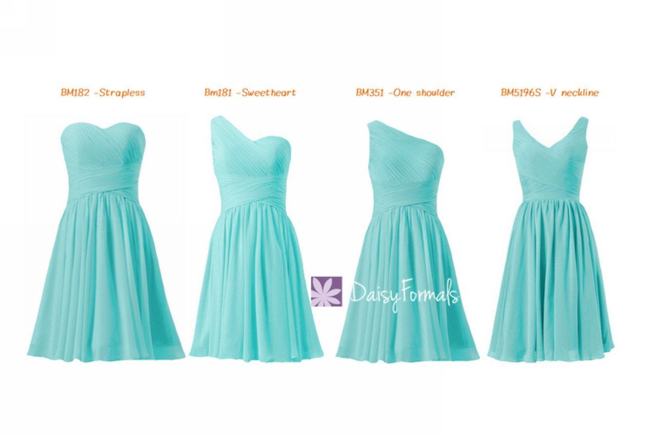 Affordable tiffany blue bridesmaid dresses mix-matched short knee ...