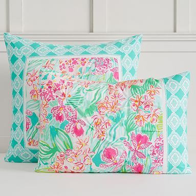 Lilly Pulitzer Organic Orchid Border Duvet Cover Sham