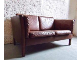 Vintage Danish 2 Seater Leather Sofa Chair Classic Retro Mid