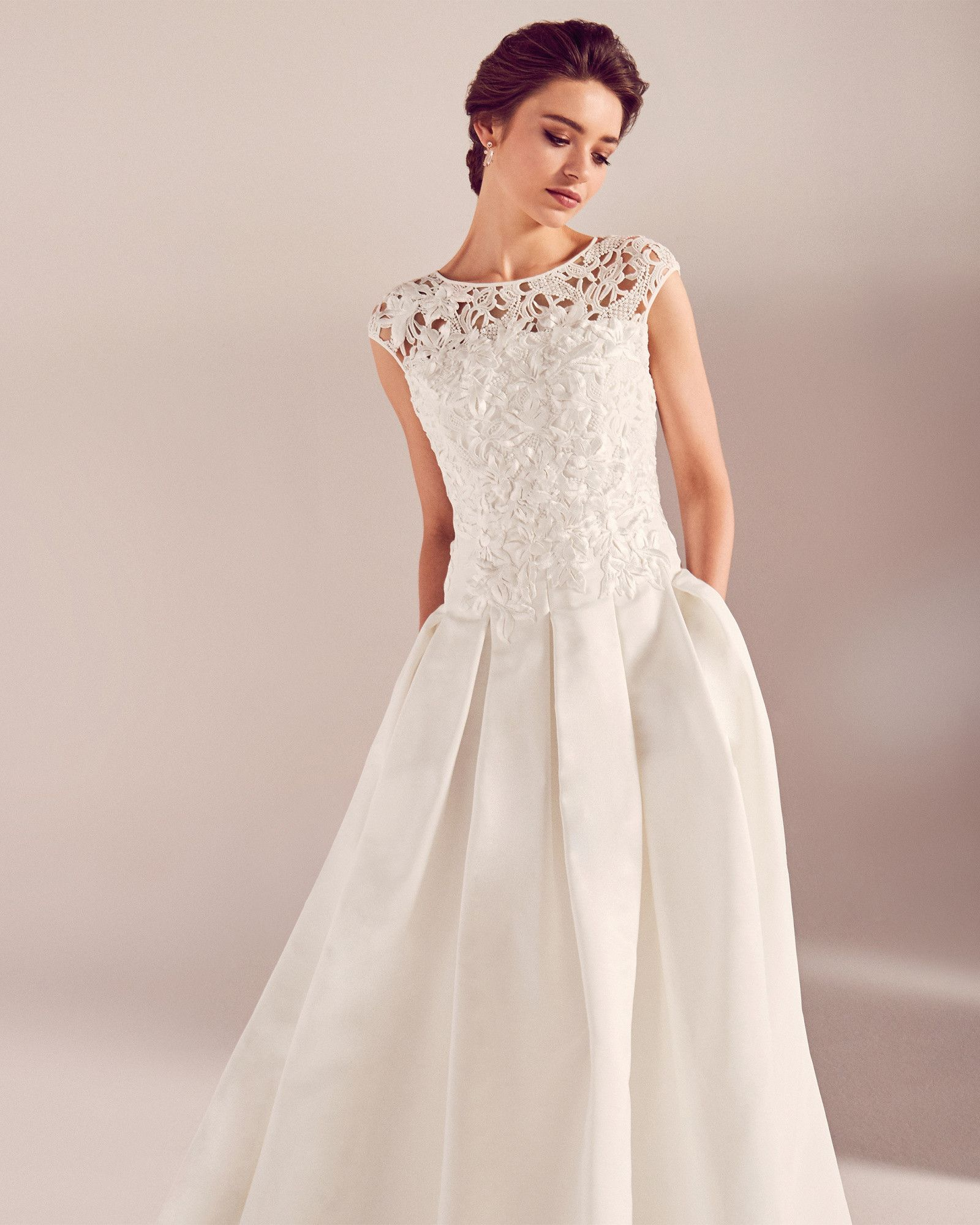 Walk Into Your New Life In This Elegant Floor Length Wedding Dress Crafted With A Roma Ted Baker Wedding Dress Bodice Wedding Dress Wedding Dress With Pockets