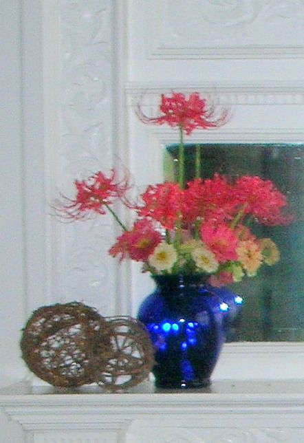 Blue Vase, Pink Flowers and Wicker Balls, Centerpiece