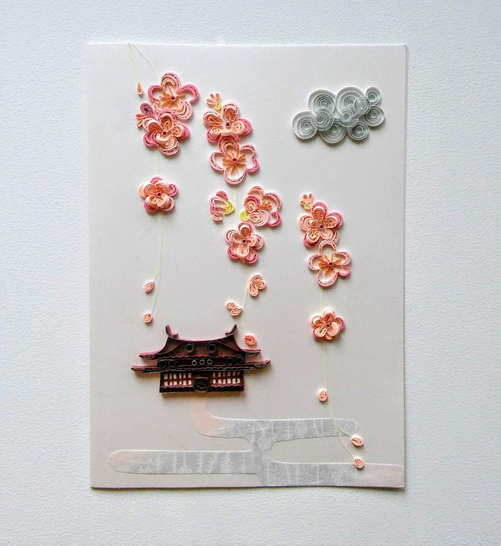 Cherry Blossom Card Sakura Card Japanese Style Card Asian Etsy Sakura Card Spring Cards Sakura Art