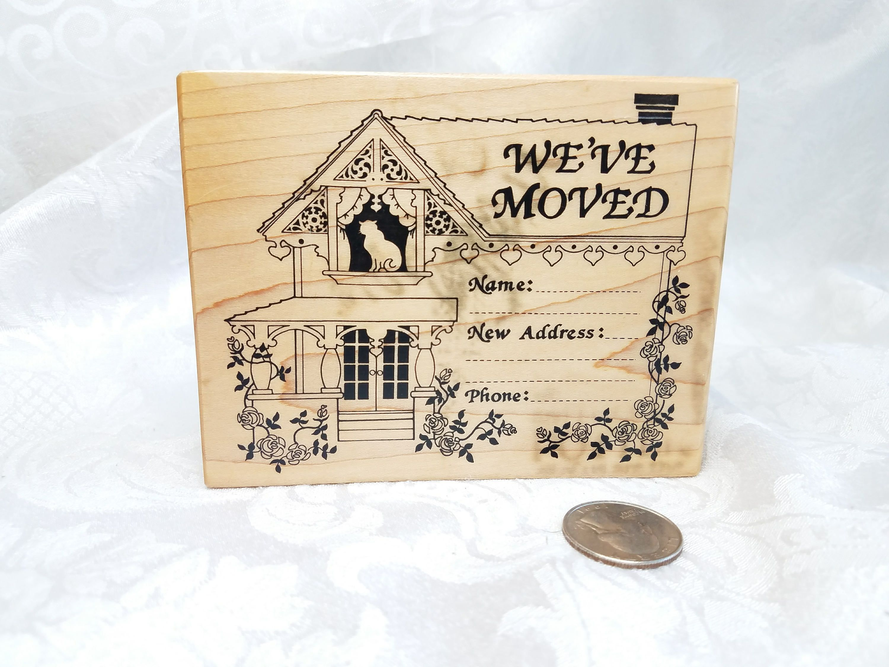 Weve Moved Rubber STamp PSX Stamp Cat In House Name Address Phone Moving Announcement Used