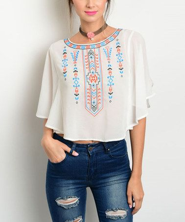 This White & Coral Geometric Cutout Crop Top by Shop the Trends is perfect! #zulilyfinds