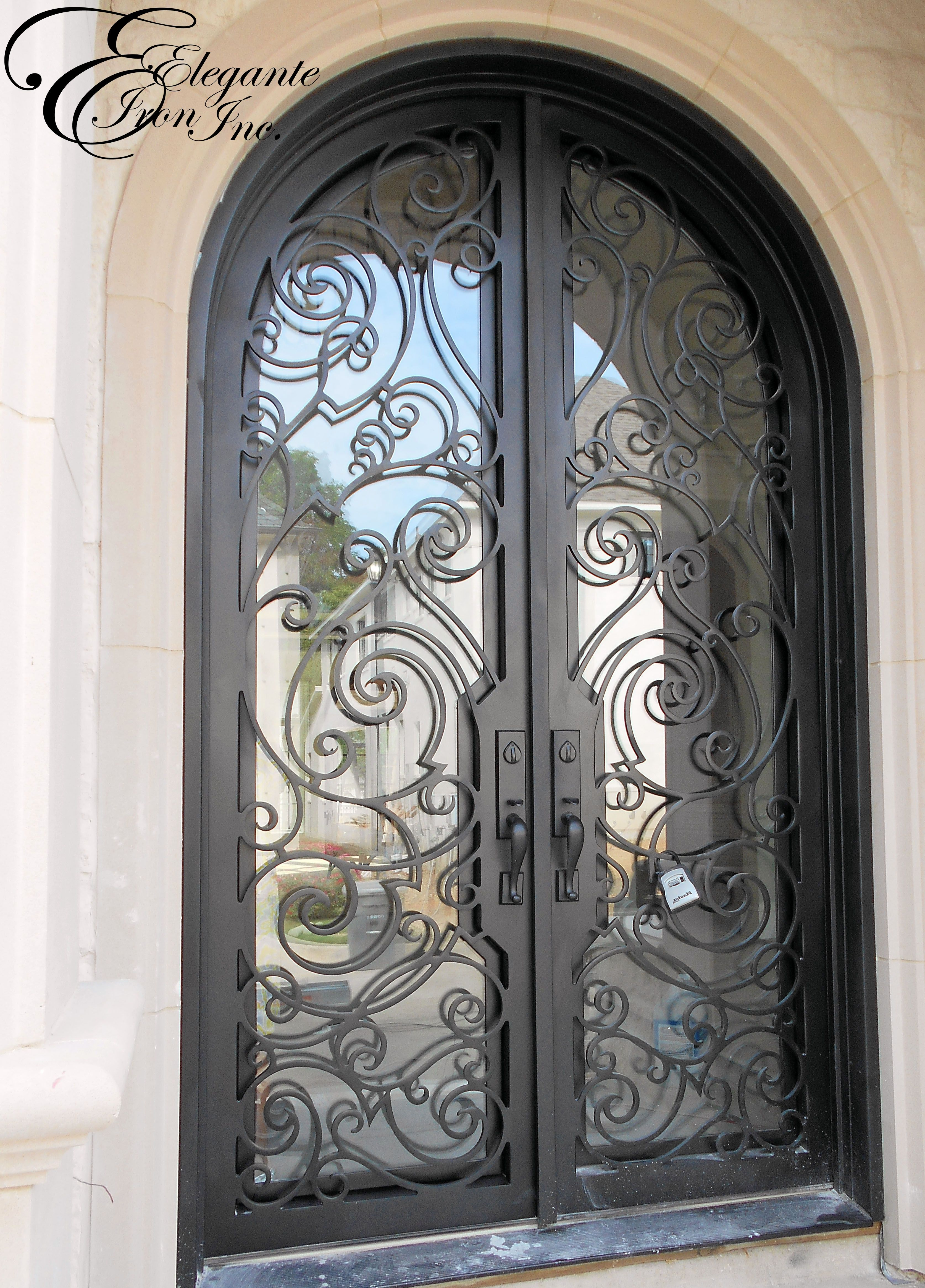Custom Wrought Iron Door With Thin Stile And Hardware Notch With