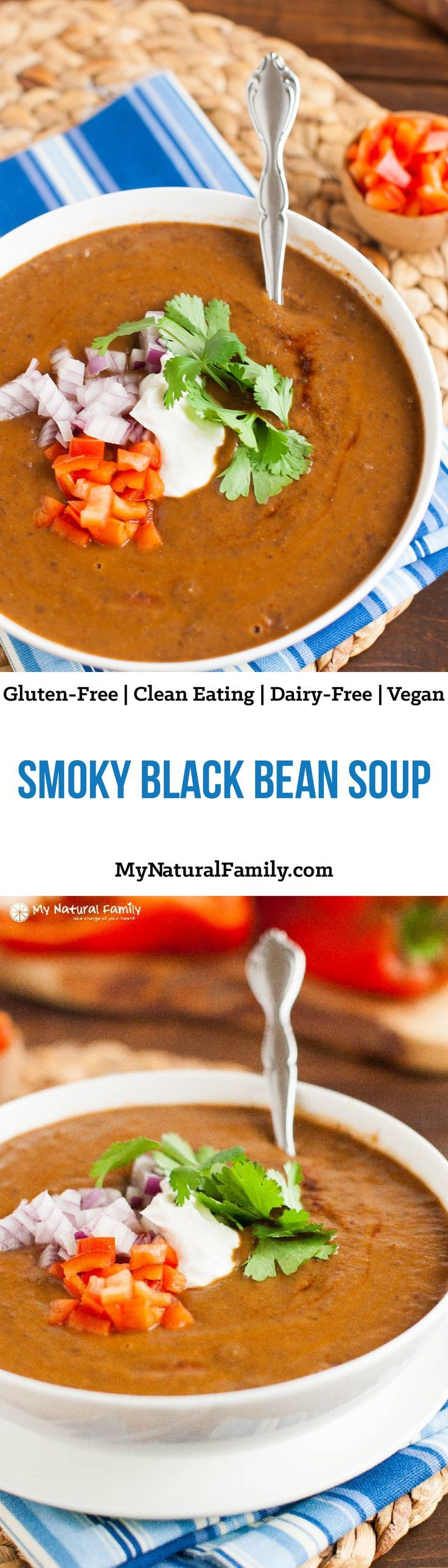 Smoky Black Bean Soup Recipe {Vegan, Clean Eating, Gluten-Free, Dairy-Free} - made from scratch and rich with smoky flavor.