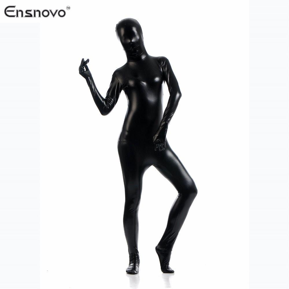 Ensnovo Catsuit Women Zentai Flesh Full Body Costume Shiny Metallic Zentai  One Piece Cosplay Costume Lycra