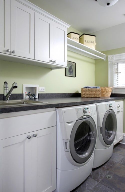 I Like The Hanging Clothes Rod Combined With Storage Above W D Laundry Room Design Laundry Room Laundry Room Cabinets