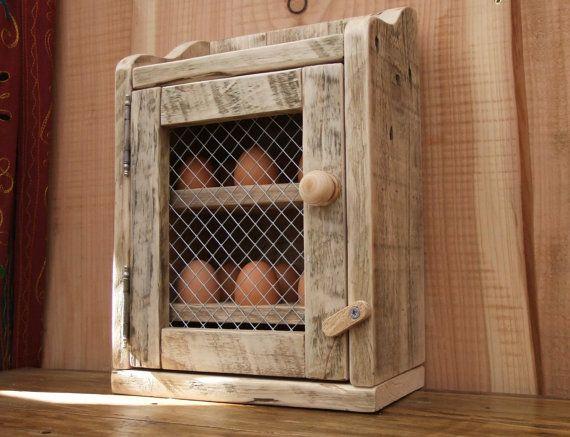 Handmade Rustic Egg Hutch Holder Made From Reclaimed