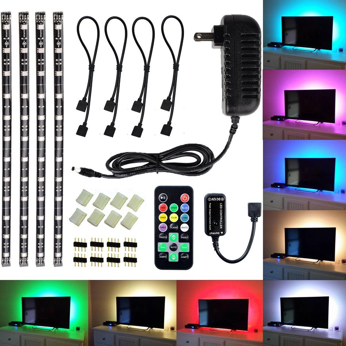 Amazon led tv backlight light kit avawo computer rgb led amazon avawo led tv backlight light kit flexible 5050 rgb usb led strip light with 5v usb cable and mini controller for tvpclaptop background aloadofball Gallery