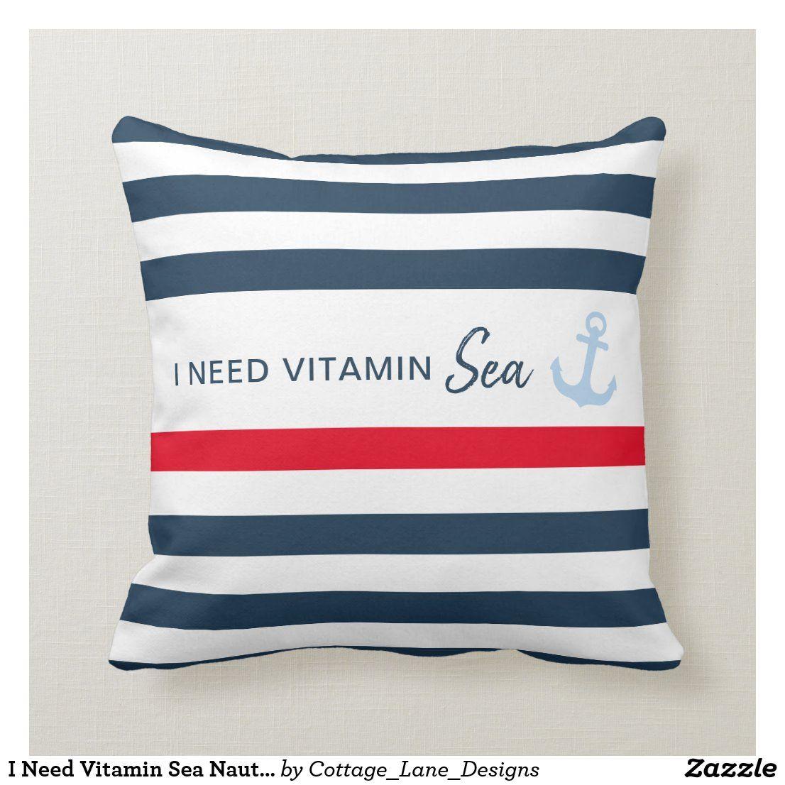 I Need Vitamin Sea Nautical Stripe Anchor Throw Pillow #nauticaldecor #beachhouse #vacationhome