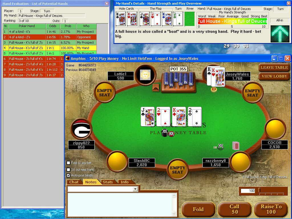 Poker Sidekick Is The Only Online Texas Holdem Poker Odds
