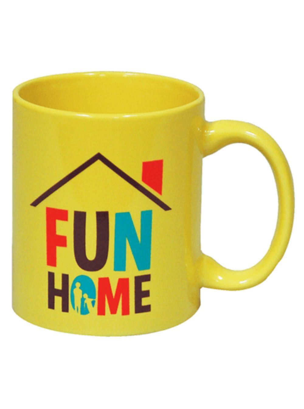 Bright yellow 11oz ceramic coffee mug with the full color Fun Home logo. Dishwasher safe.