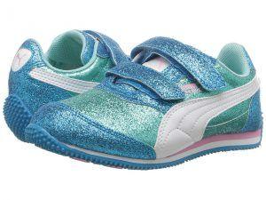 Puma Kids Steeple Glitz Glam V PS (Little Kid/Big Kid) (Aruba Blue/Puma White) Girls Shoes