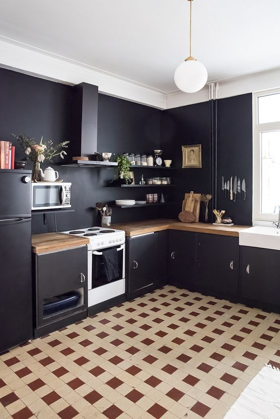 Home Renovation: Black Walls in the Kitchen / No Glitter No Glory ...