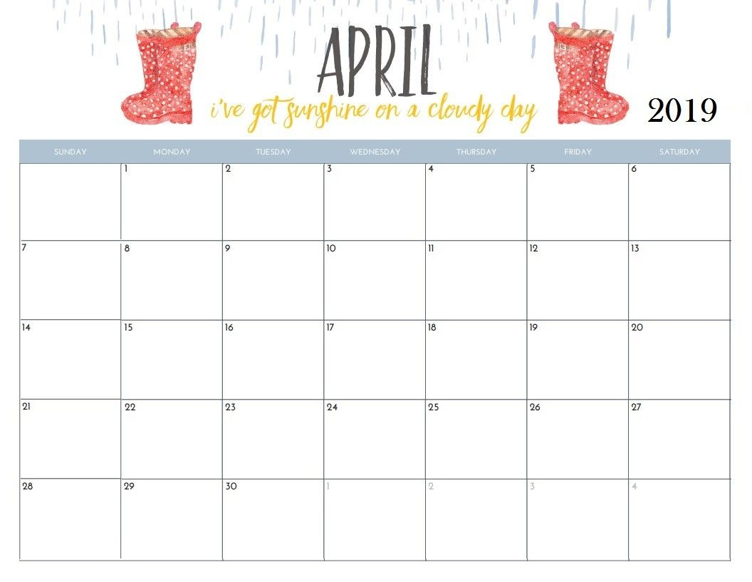 picture relating to Pretty Printable Calendar called Attractive Printable Calendar 2019 April 2019 Calendar April