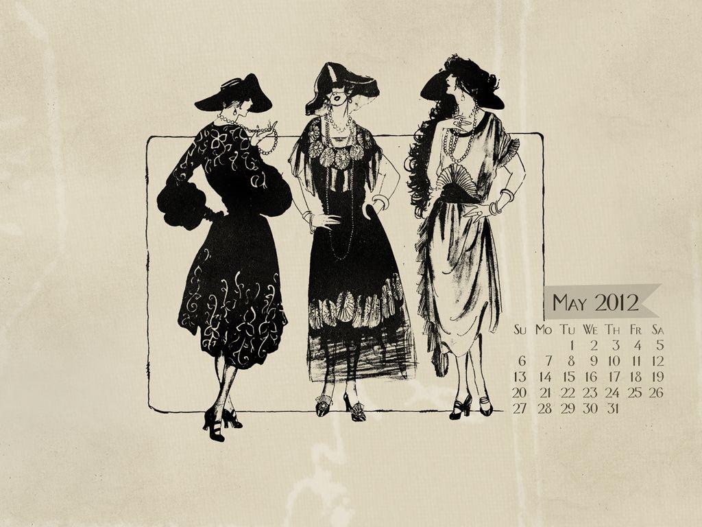 May 2012 Vintage Fashion Calendar WallpaperDesktop