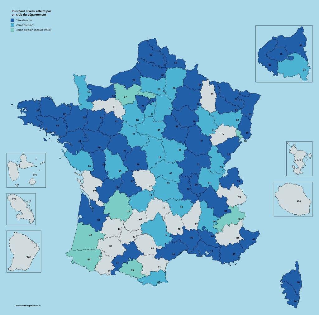 Niveau D1 D2 D3 par departements Géographie