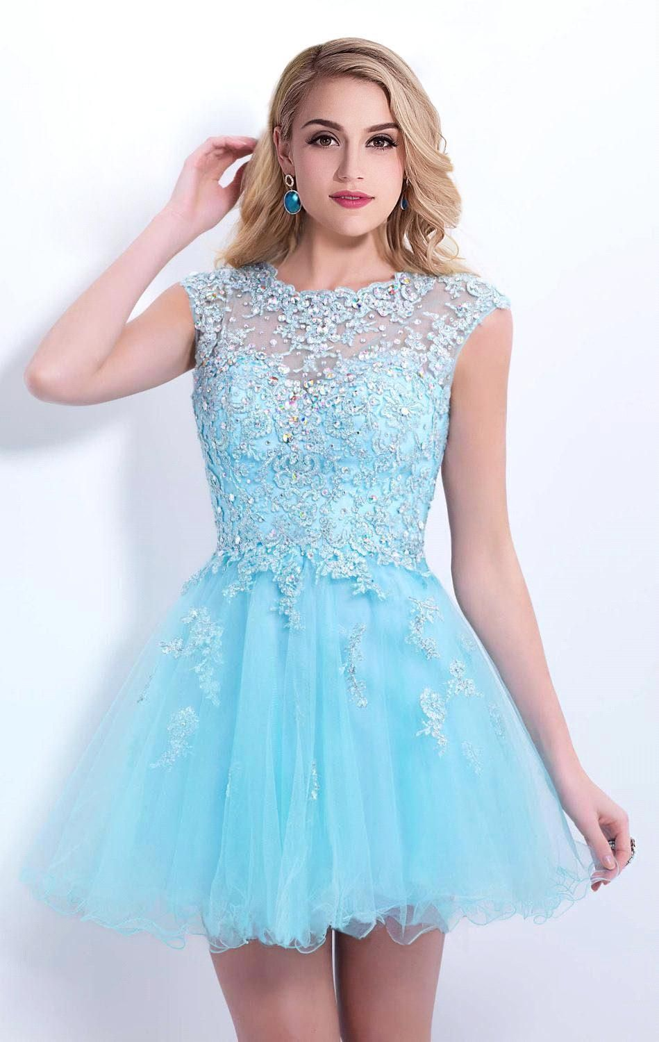 $99-Lace Applique Sky Blue Homecoming Dresses Capped Sleeves ...