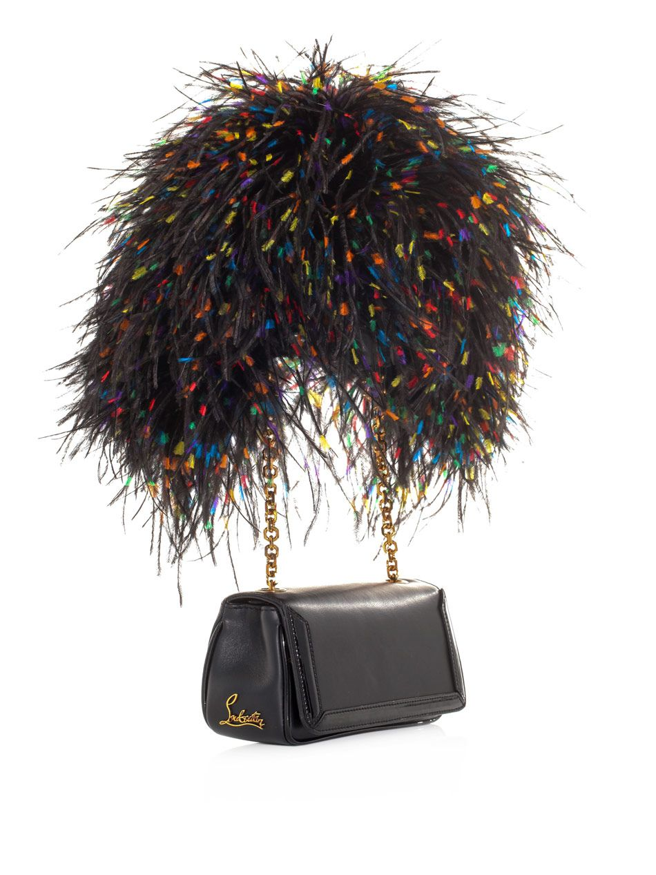 CHRISTIAN LOUBOUTIN Artemis Leather & Ostrich Feather Bag