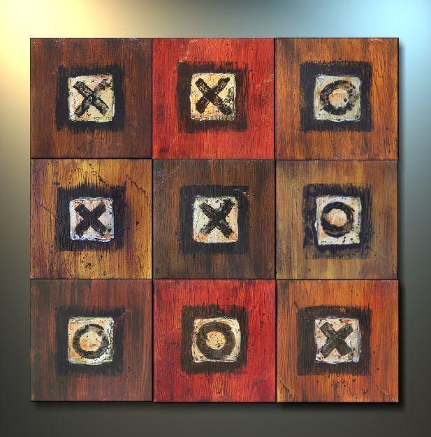 Elizabeth Willmon, tic tac toe, acrylic on wood, 2006.