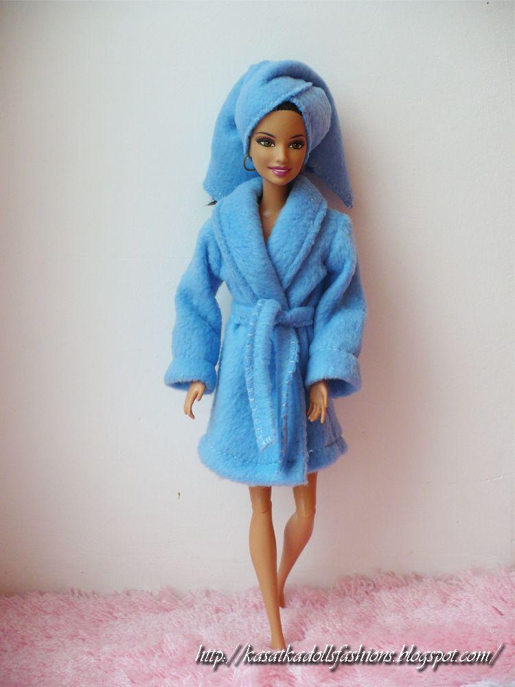 Fleece bathrobe for Barbie dolls + Pattern / теплый и уютный халат ...