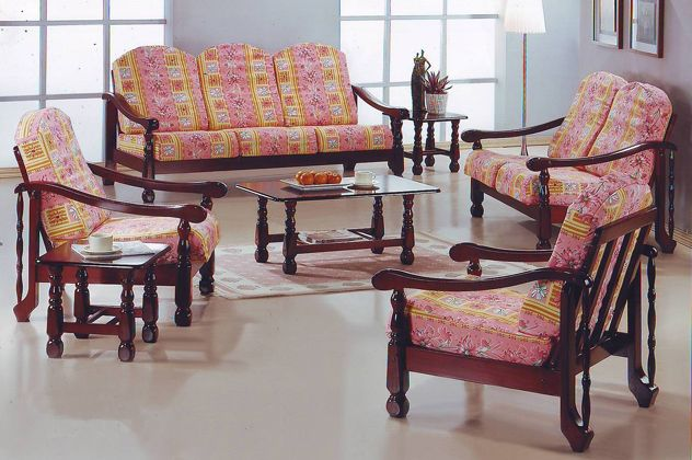 Pink Yellow Wooden Sofa Set Wooden Sofa Set Pretty Furniture Sofa Set