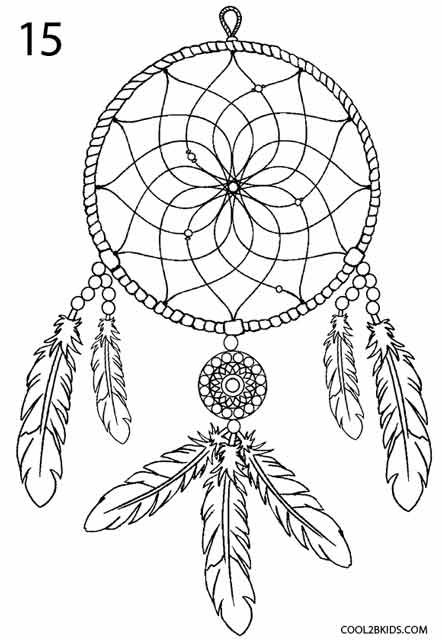 dreamcatcher mandala coloring pages | How to Draw a Dreamcatcher Step 8 | Dream catcher coloring ...