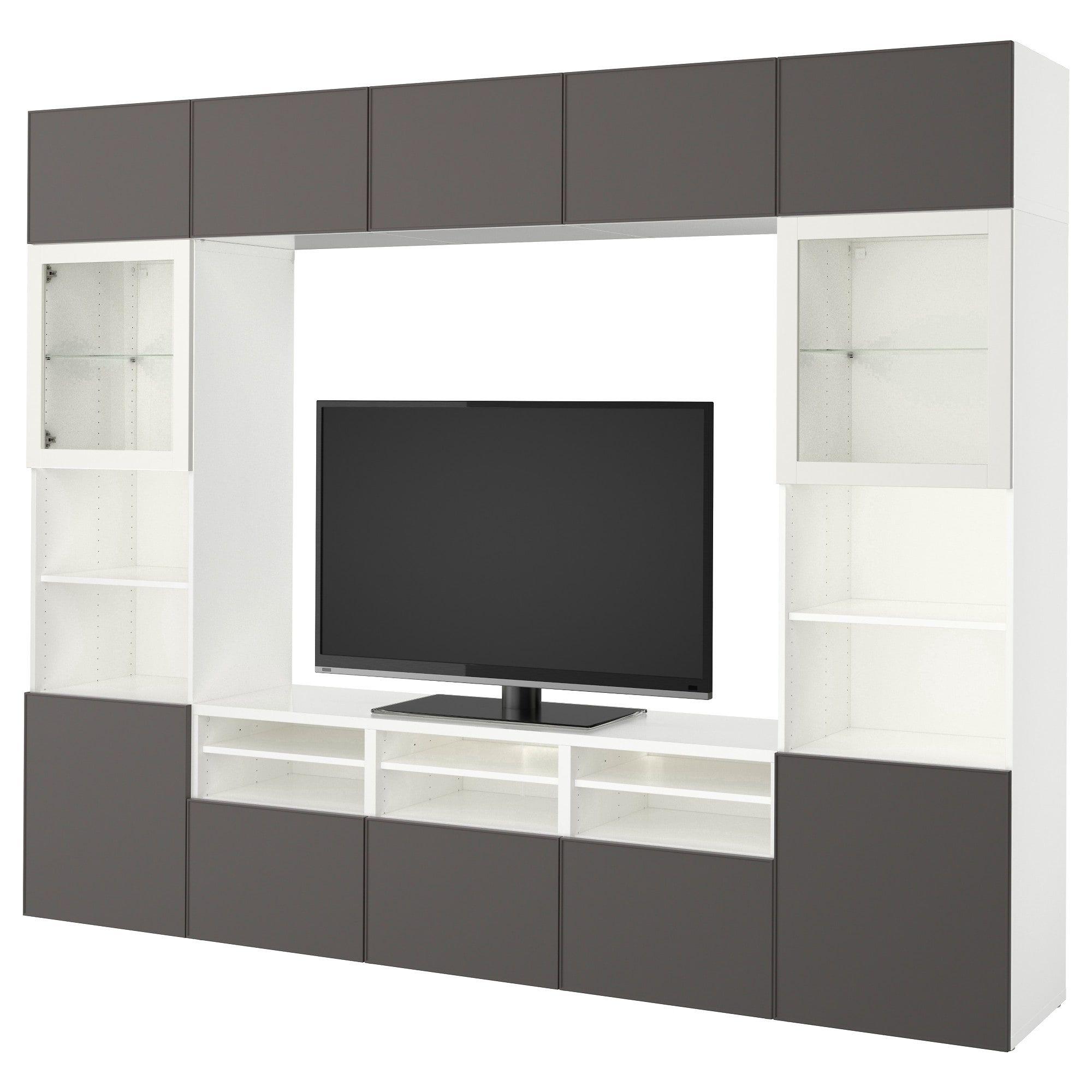 ikea best tv storage combination glass doors white. Black Bedroom Furniture Sets. Home Design Ideas