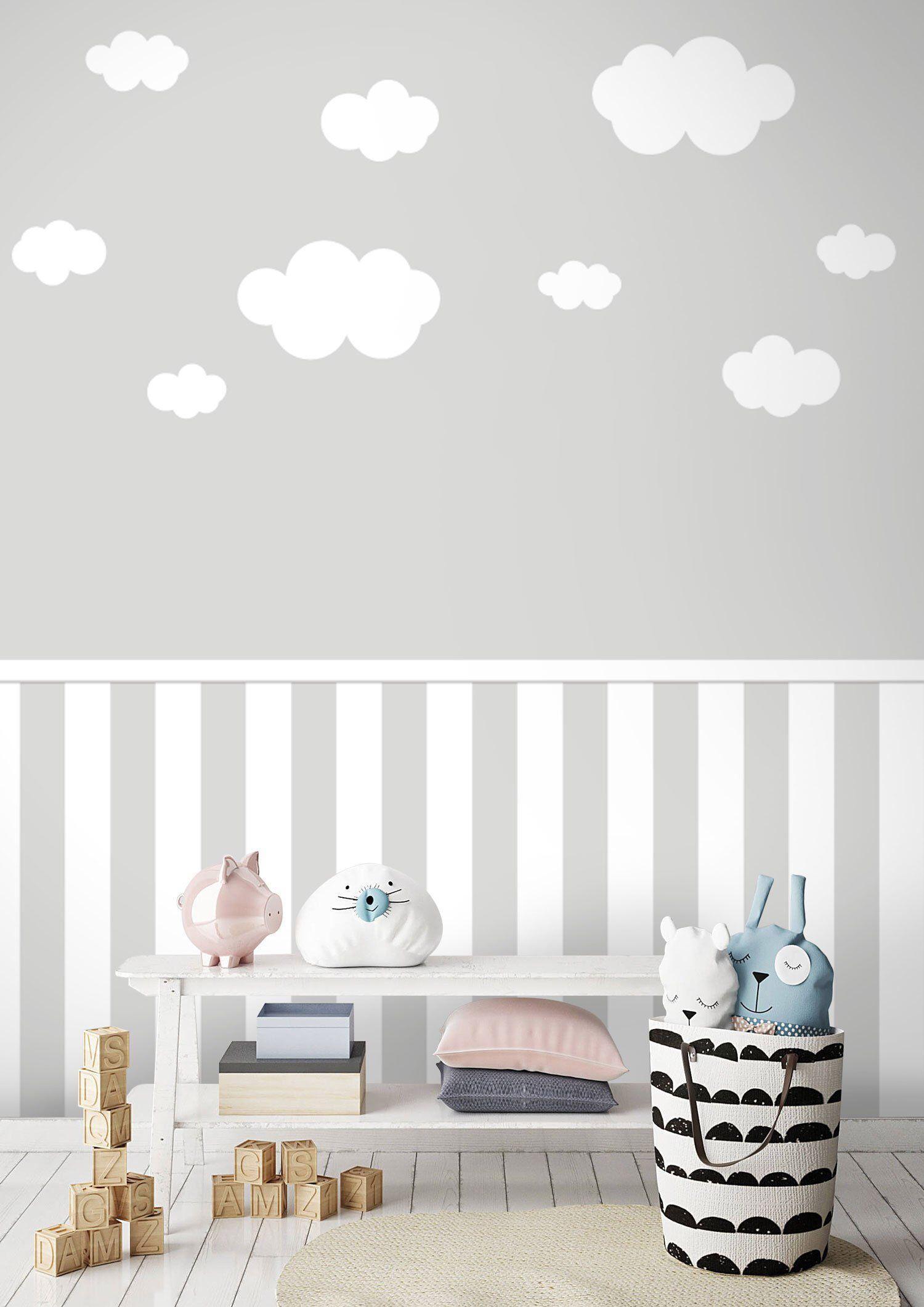 Tapete, Fototapete, Kinderzimmer, Baby, Wolken, Sockel, Wunschfarbe ...