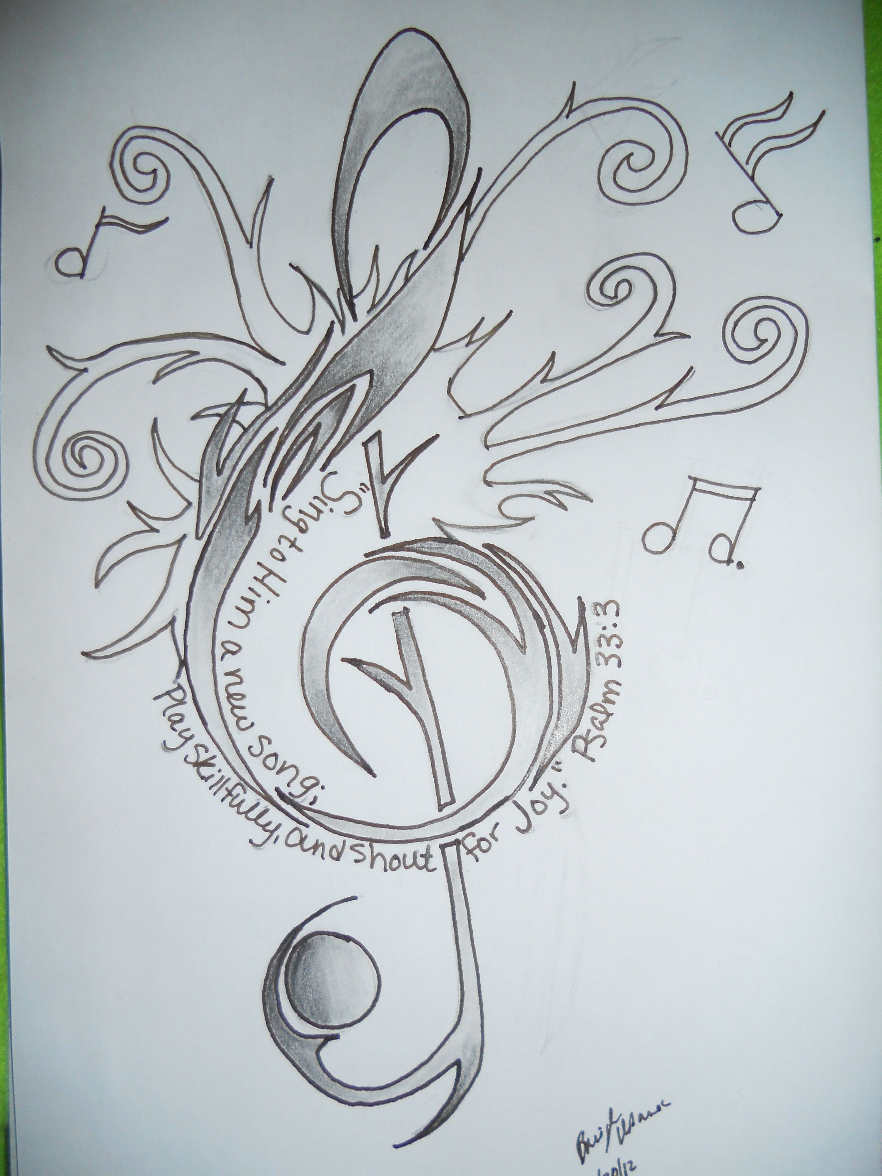 Coloring pages psalm 33 - Treble Clef Tattoo Design With Psalm 33 3 Bible Verse Drawing By Breigh Urbanec